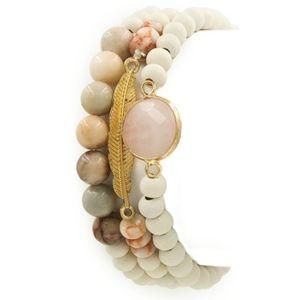 Garden Party Beaded Bracelet Set White Gold Boho